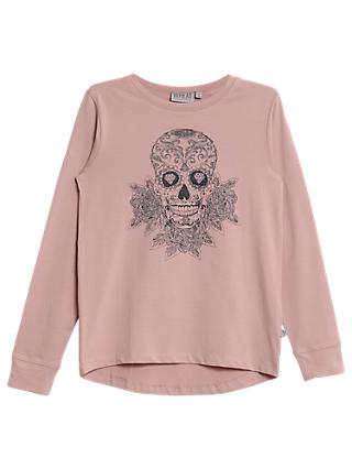 Wheat Girl's Skull Rose T-Shirt, Pink