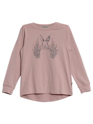 Wheat Girl's Flying Rabbit T-Shirt, Rose