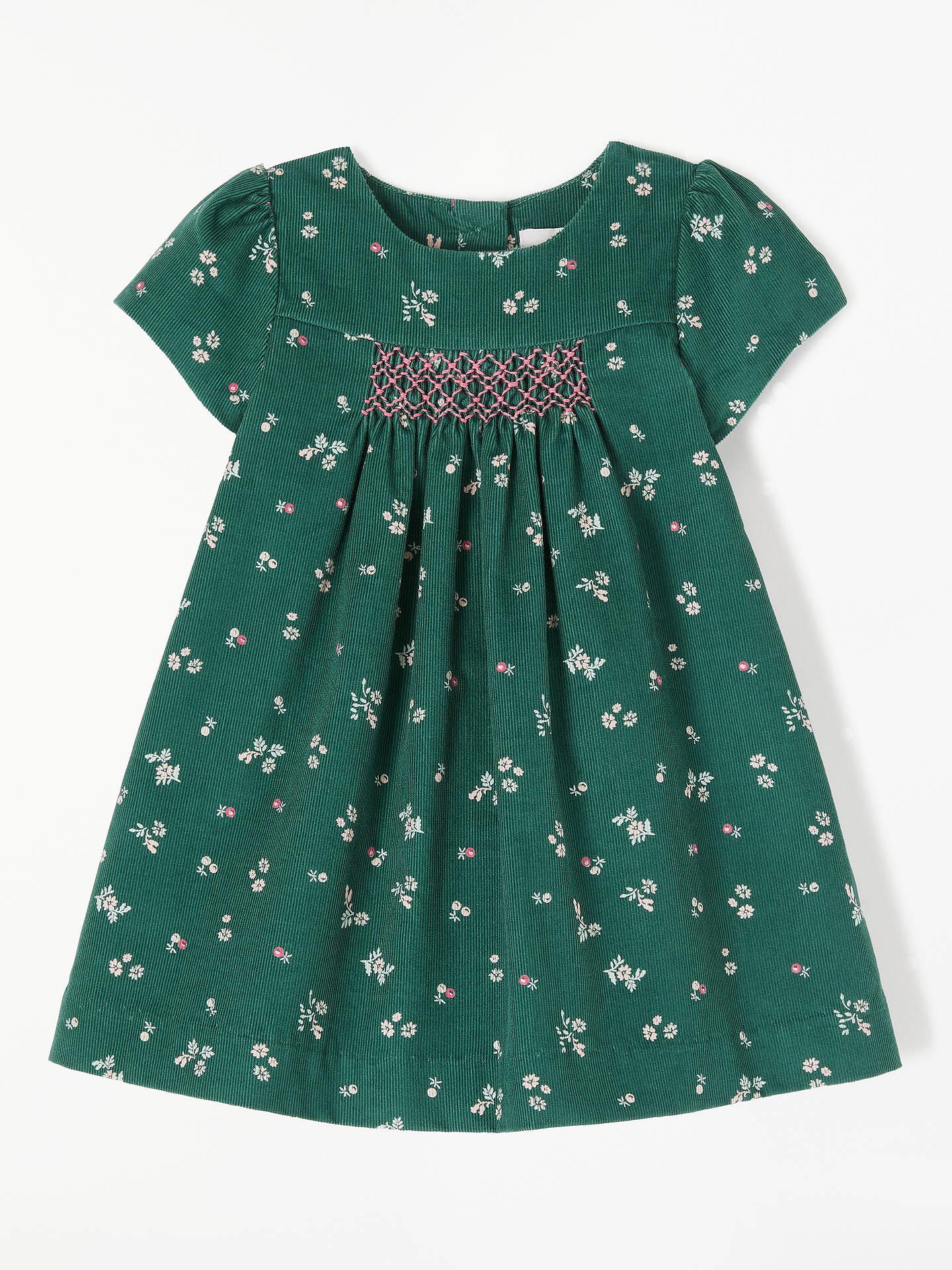 d08d4a53d Buy John Lewis & Partners Heirloom Collection Baby Green Cord Flower Dress,  Green, 0 ...
