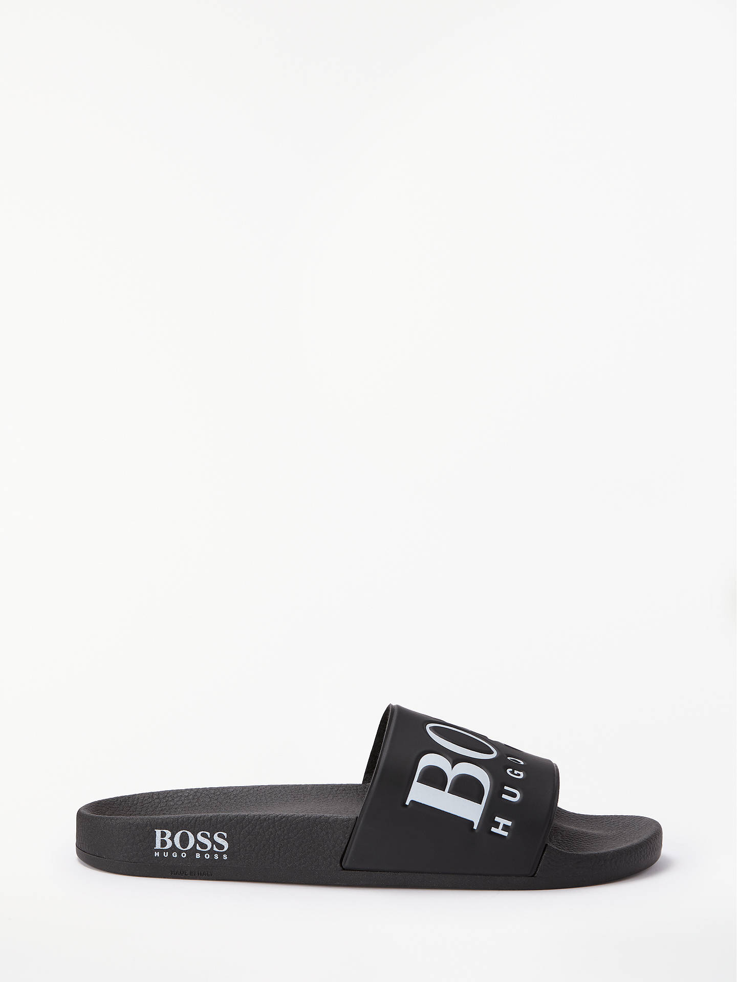a8ad6be9770 Buy BOSS Solar Rubber Logo Slider Flip Flops, Black, 8 Online at johnlewis.