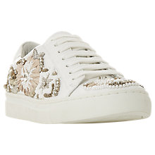 Buy Dune Ebizaa Embellished Slip On Trainers, White Leather Online at johnlewis.com