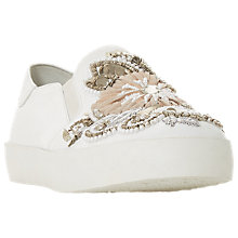 Buy Dune Evoiaa Embellished Slip On Trainers, White Leather Online at johnlewis.com