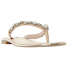 Buy Dune Newbie Embellished Flip Flops, Blush Leather Online at johnlewis.com