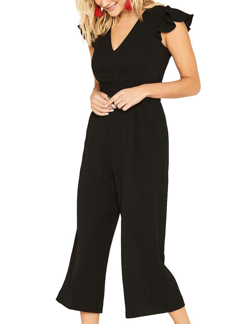 fda775194936 Oasis Frill Sleeve Jumpsuit, Black at John Lewis & Partners