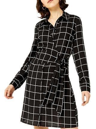 Warehouse Mono Check Shirt Dress, Black Pattern