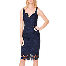 Buy Damsel in a Dress Abella Boned Lace Midi Dress, Navy/Blue Online at johnlewis.com