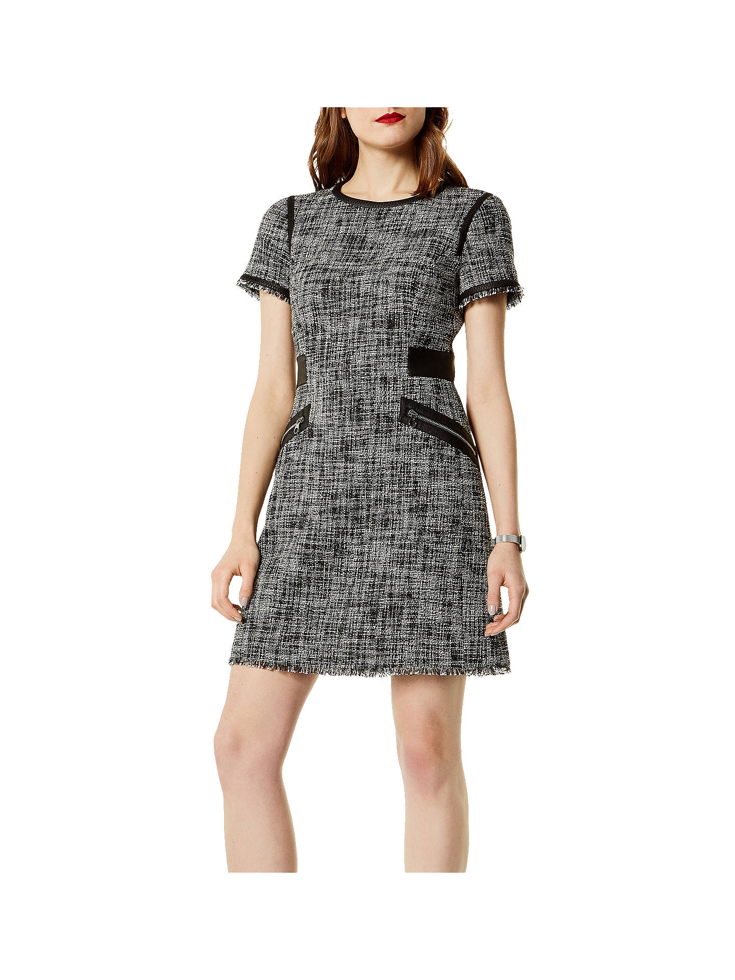 28dbe3c50c0c Buy Karen Millen Fun Tweed Dress, Black/White, 6 Online at johnlewis.