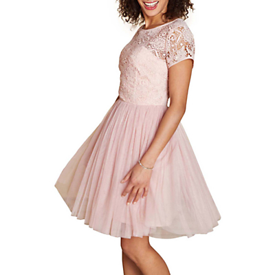 Image of Yumi Lace Skater Dress, Blush