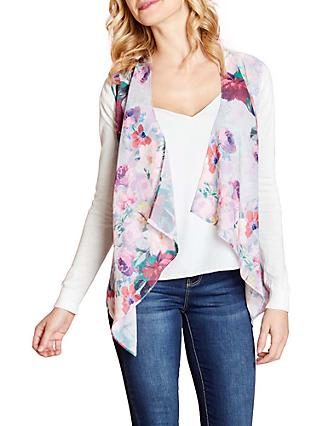 Yumi Floral Print Waterfall Cardigan, Multi