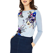 Buy Oasis Flower Press Jumper, Mid Blue Online at johnlewis.com