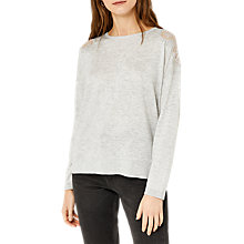 Buy Warehouse Lace Shoulder Jumper, Light Grey Online at johnlewis.com