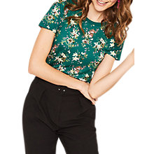 Buy Oasis Kelsey Floral Print T-Shirt, Green/Multi Online at johnlewis.com