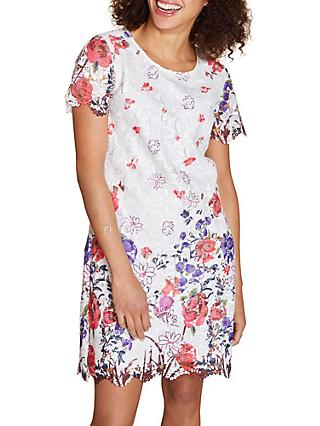 Yumi Floral Scallop Hem Shift Dress, Ivory/Multi