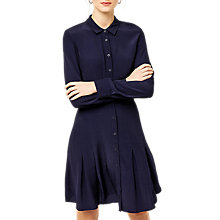 Buy Warehouse Pleated Hem Shirt Dress, Navy Online at johnlewis.com
