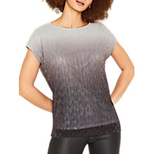 Buy Oasis Ombre Plisse Top, Multi/Silver Online at johnlewis.com