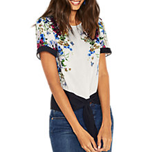 Buy Oasis Floral Tie Front T-Shirt, Multi Online at johnlewis.com