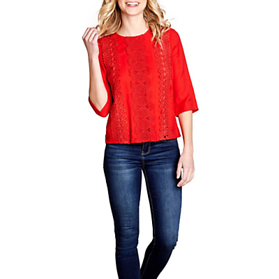 Yumi Crochet 3/4 Sleeve Top, Red