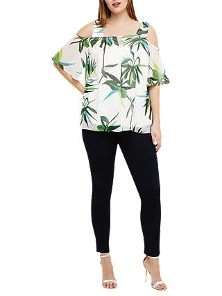 Buy Studio 8 Ally Palm Print Cold Shoulder Top, White/Multi, 12 Online at johnlewis.com