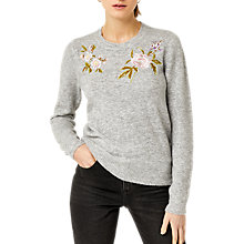 Buy Warehouse Molly Embroidered Jumper, Light Grey Online at johnlewis.com