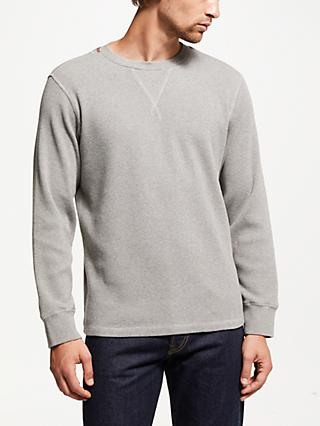 JOHN LEWIS & Co. Double Waffle Crew Neck Sweatshirt, Grey