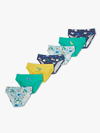 John Lewis & Partners Boys' Camping Dinosaurs Briefs, Pack of 7