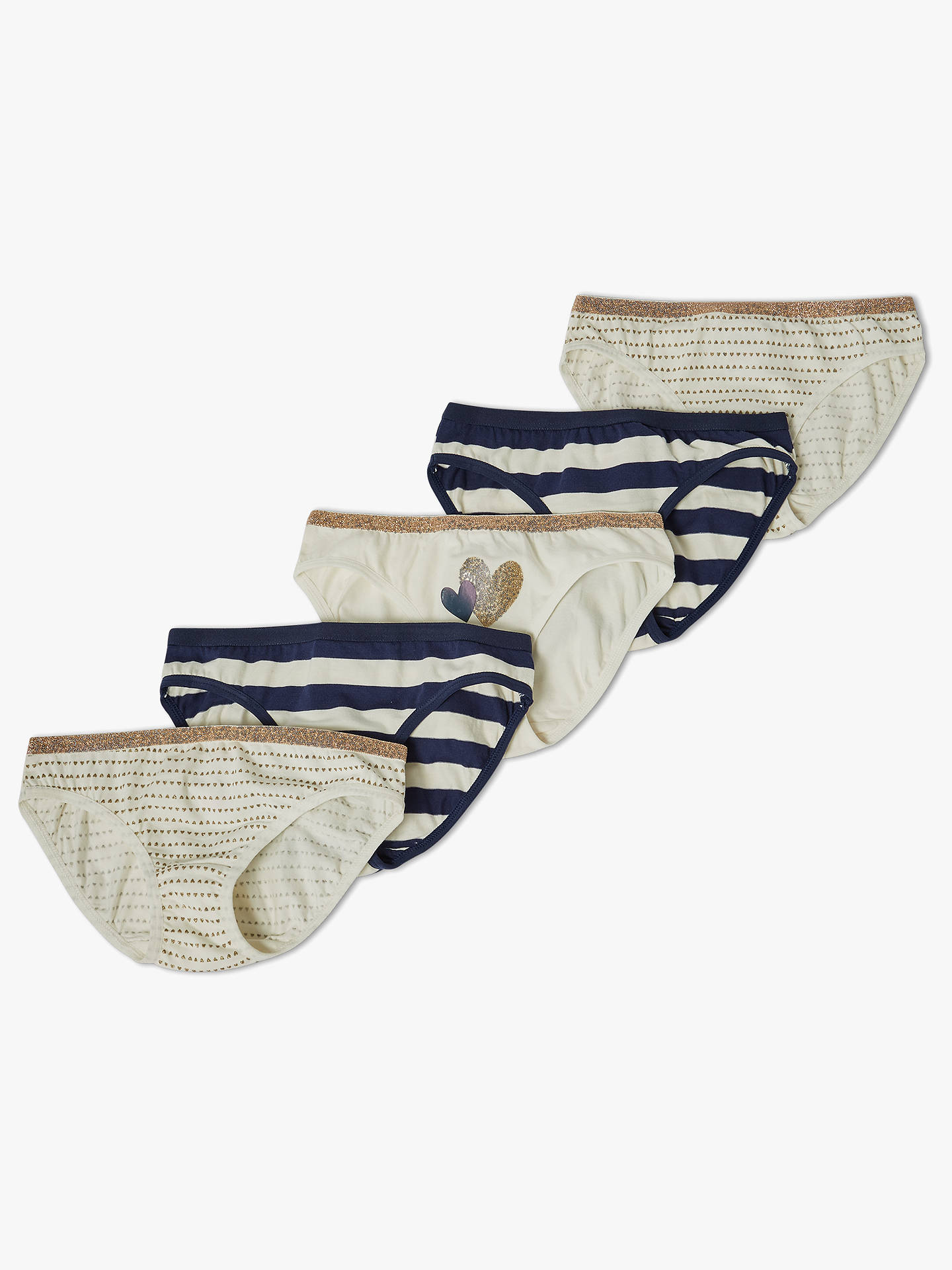 BuyJohn Lewis & Partners Girls' Heart Print Bikini Briefs, Pack of 5, Multi, 5 years Online at johnlewis.com
