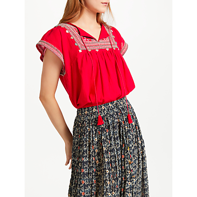 Star Mela Gaia Embroidered Top, Red