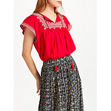 Buy Star Mela Gaia Embroidered Top, Red Online at johnlewis.com