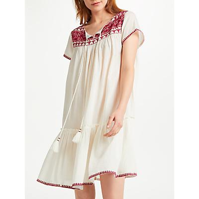 Star Mela Isa Embroidered Dress, Ecru/Red