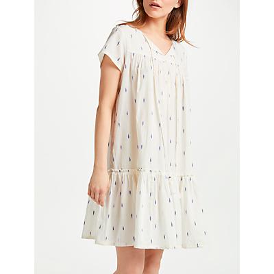 Star Mela Ora Embroidered Tunic Dress, White/Blue