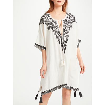 Star Mela Pavi Embroidered Cotton Kaftan, Ecru/Black