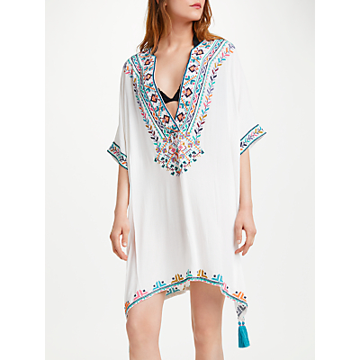 Star Mela Soli Embroidered Kaftan Dress, Ecru/Multi
