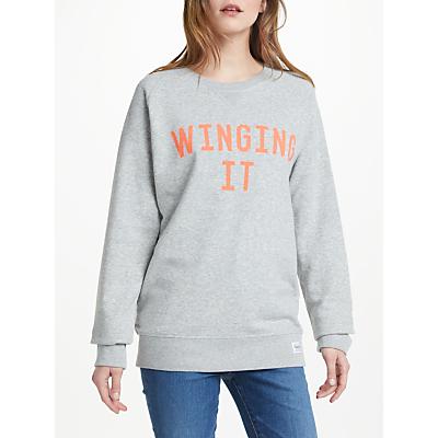 Selfish Mother Winging It Sweatshirt, Light Grey/Neon