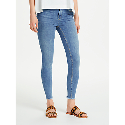 Pieces Five Delly Mid Rise Cropped Skinny Jeans, Light Blue Denim
