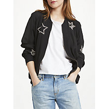 Buy Uzma Bozai Patsy Embellished Bomber Jacket, Black Online at johnlewis.com