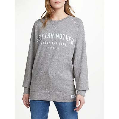 Selfish Mother Collegiate Sweatshirt, Grey/Vintage White