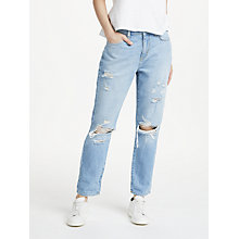 Buy Pieces Low Waist Boyfriend Jeans, Light Blue Denim Online at johnlewis.com