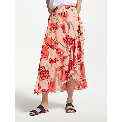 Y.A.S Cacco Floral Wrap Skirt, Orange/Multi