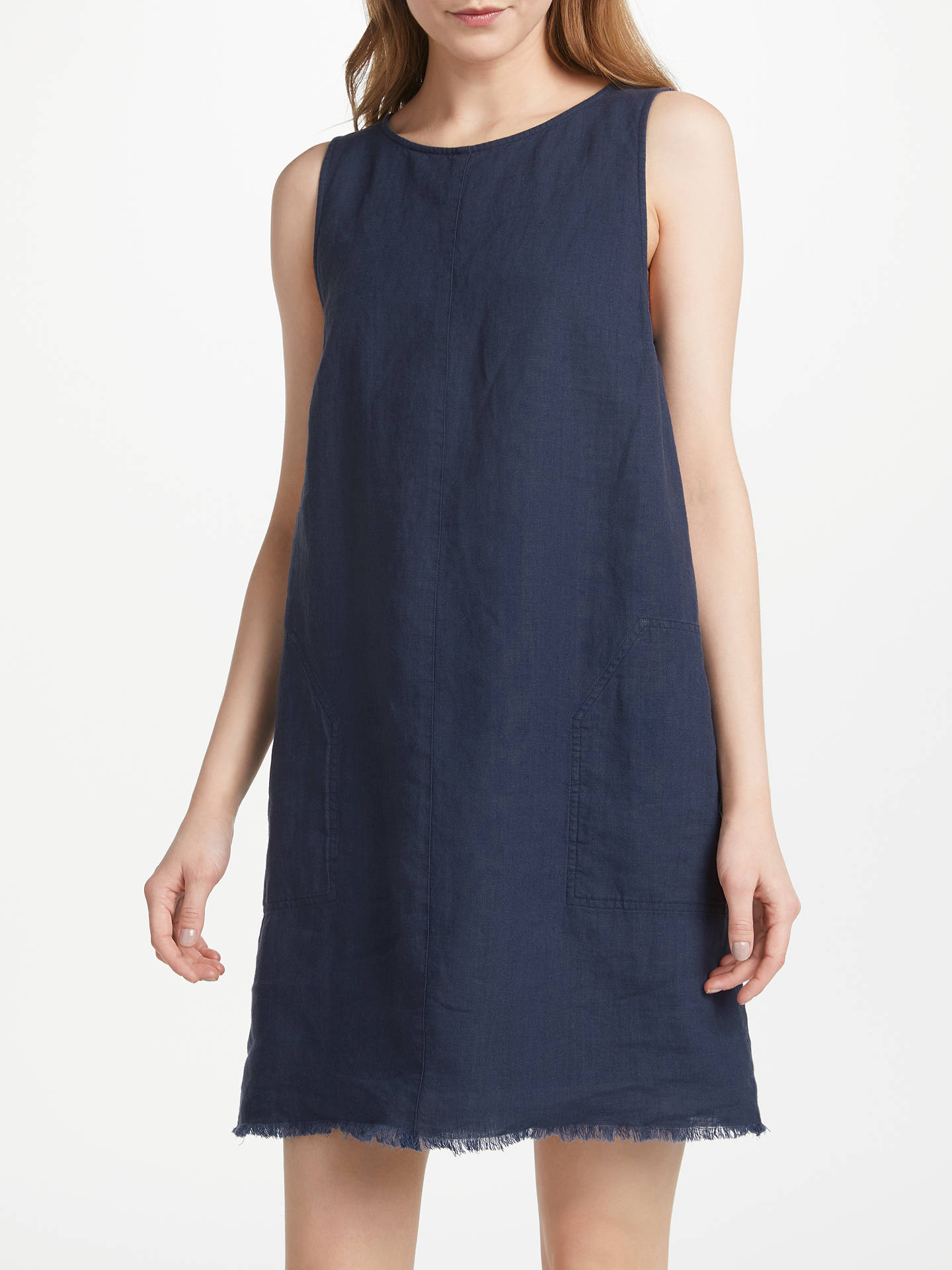 BuyGreat Plains Natural Cotton Linen Dress, Navy, XS Online at johnlewis.com
