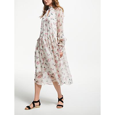 Y.A.S Most Long Sleeve Midi Dress, White/Multi