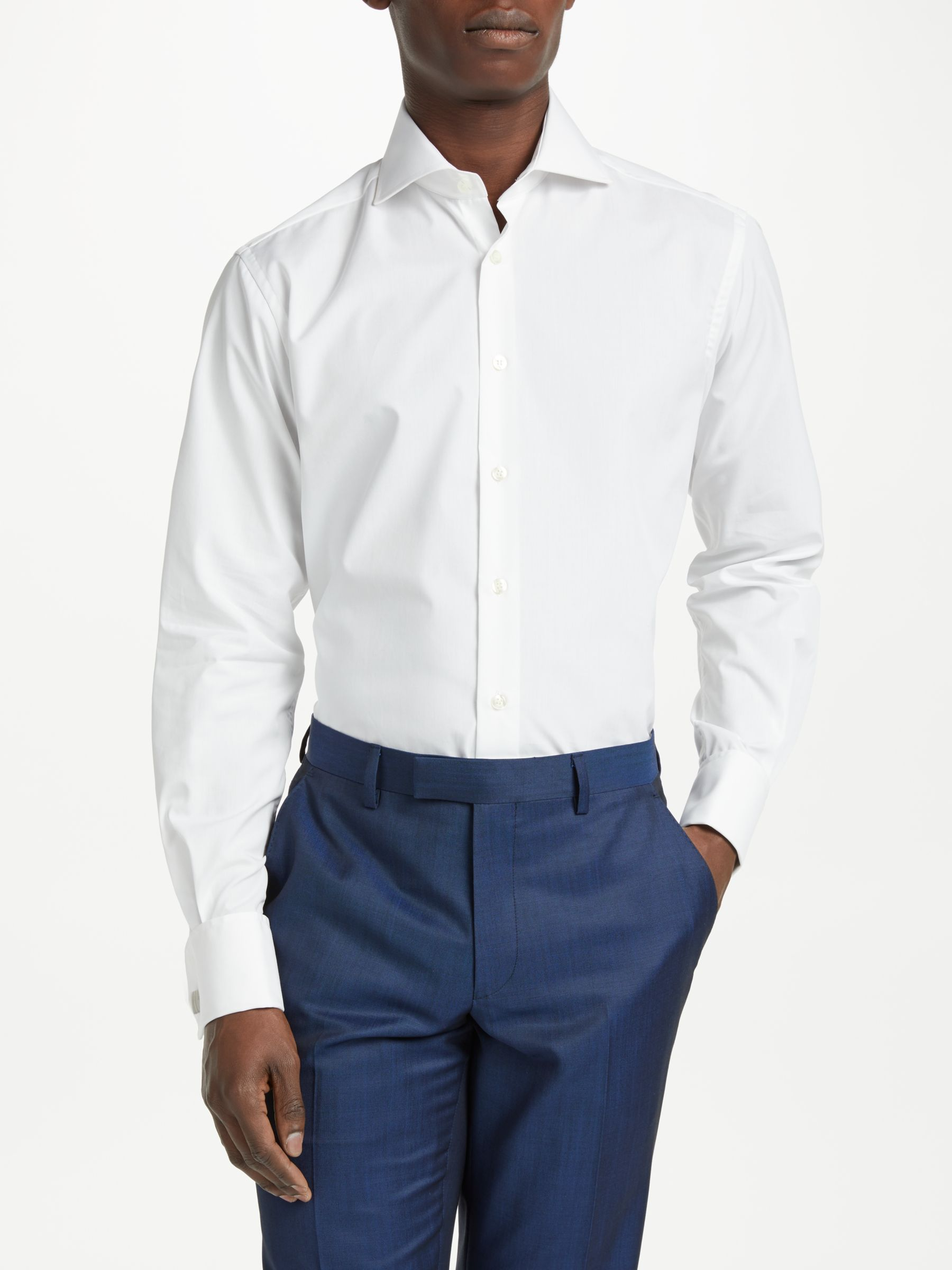 708d5f202259 Smyth & Gibson Non Iron Poplin Double Cuff Contemporary Fit Shirt, White at  John Lewis & Partners