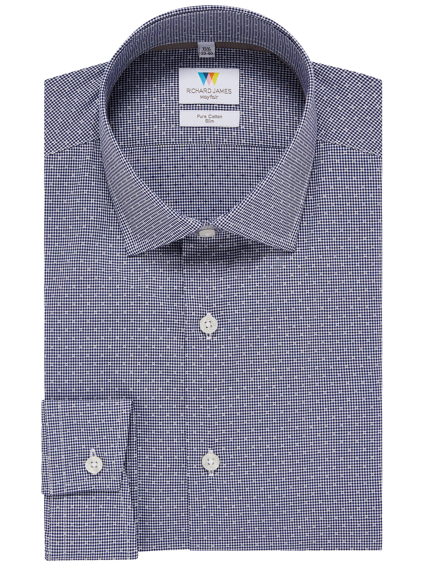 Buy Richard James Mayfair Gingham Dobby Slim Fit Shirt, Navy, 15 Online at johnlewis.com