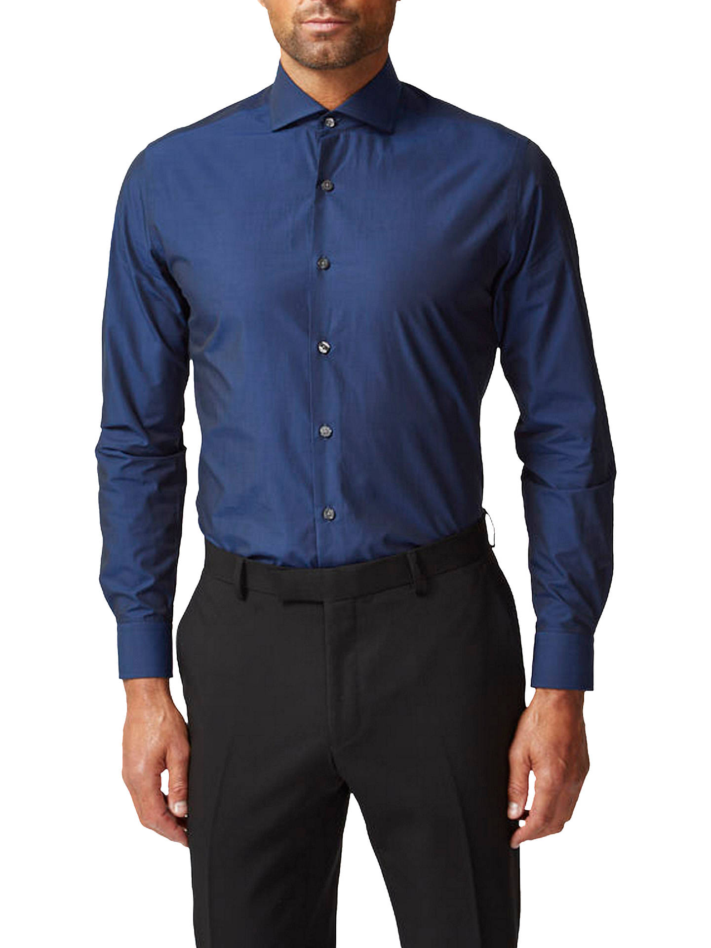 Buy Richard James Mayfair Tonic Slim Fit Shirt, Blue, 17.5 Online at johnlewis.com