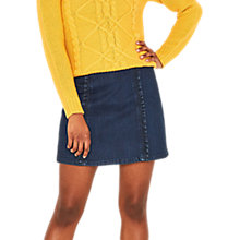 Buy Oasis Structured Frill Mini Skirt, Dark Wash Online at johnlewis.com