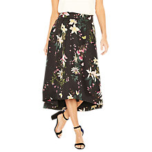 Buy Oasis Secret Garden Midi Skirt, Multi/Black Online at johnlewis.com