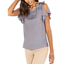 Buy Oasis Textured Tie Shoulder Top, Light Blue Online at johnlewis.com