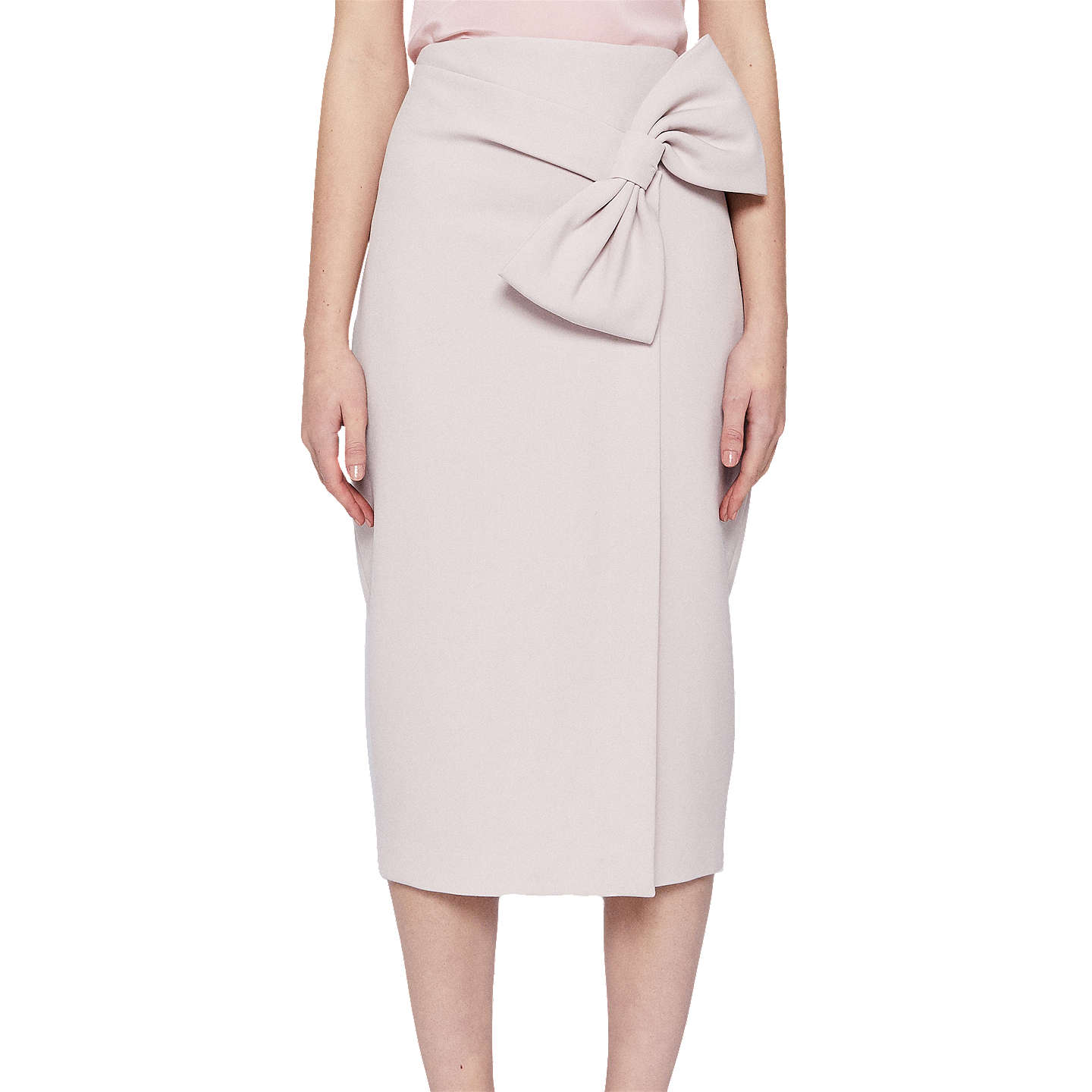 Ted Baker Liyah Integral Bow Pencil Skirt, Baby Pink by Ted Baker