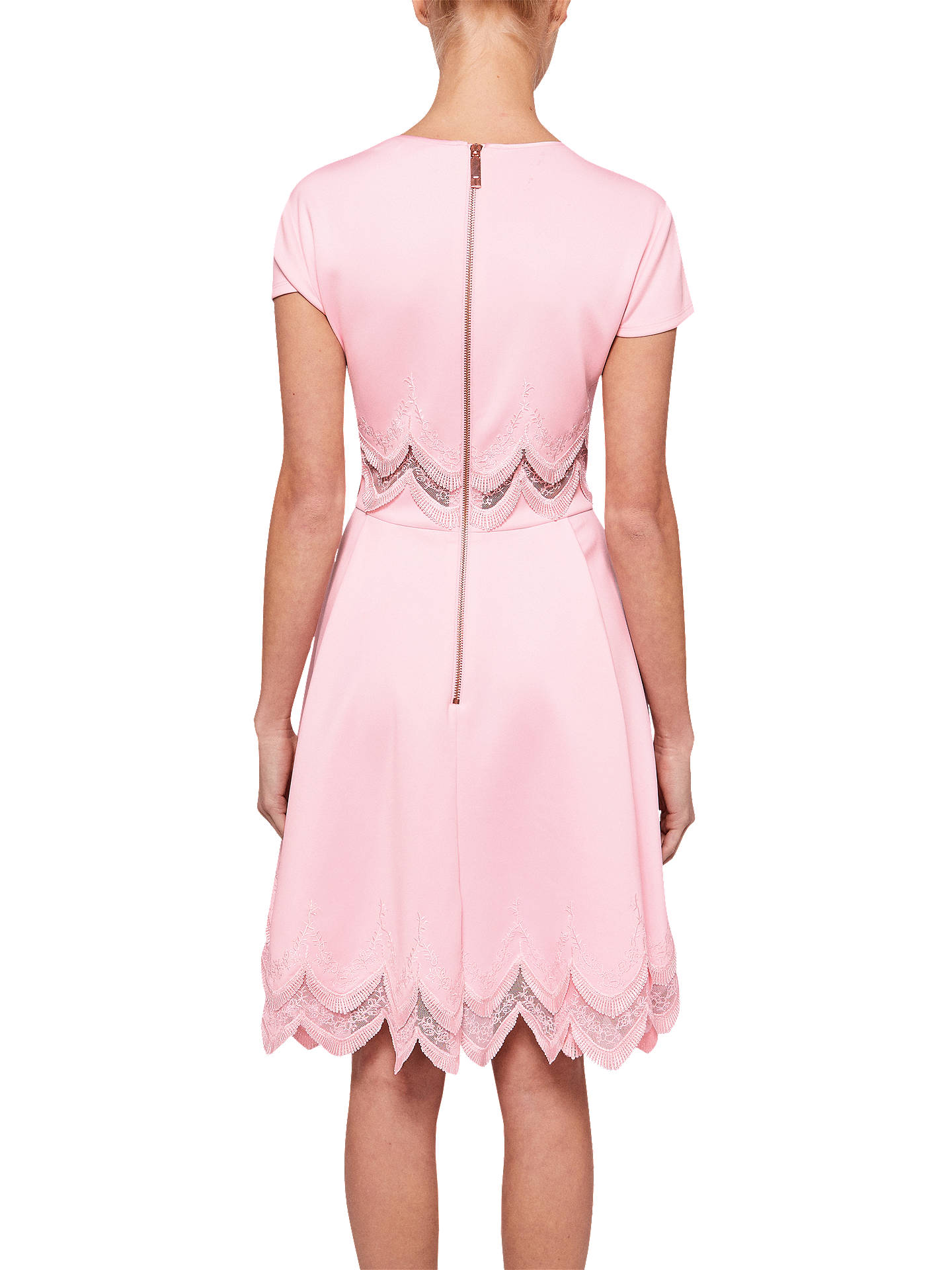BuyTed Baker Rehanna Embroidered Skater Dress, Baby Pink, 2 Online at johnlewis.com