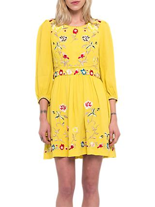 French Connection Saya Crepe Dress, Dark Citron