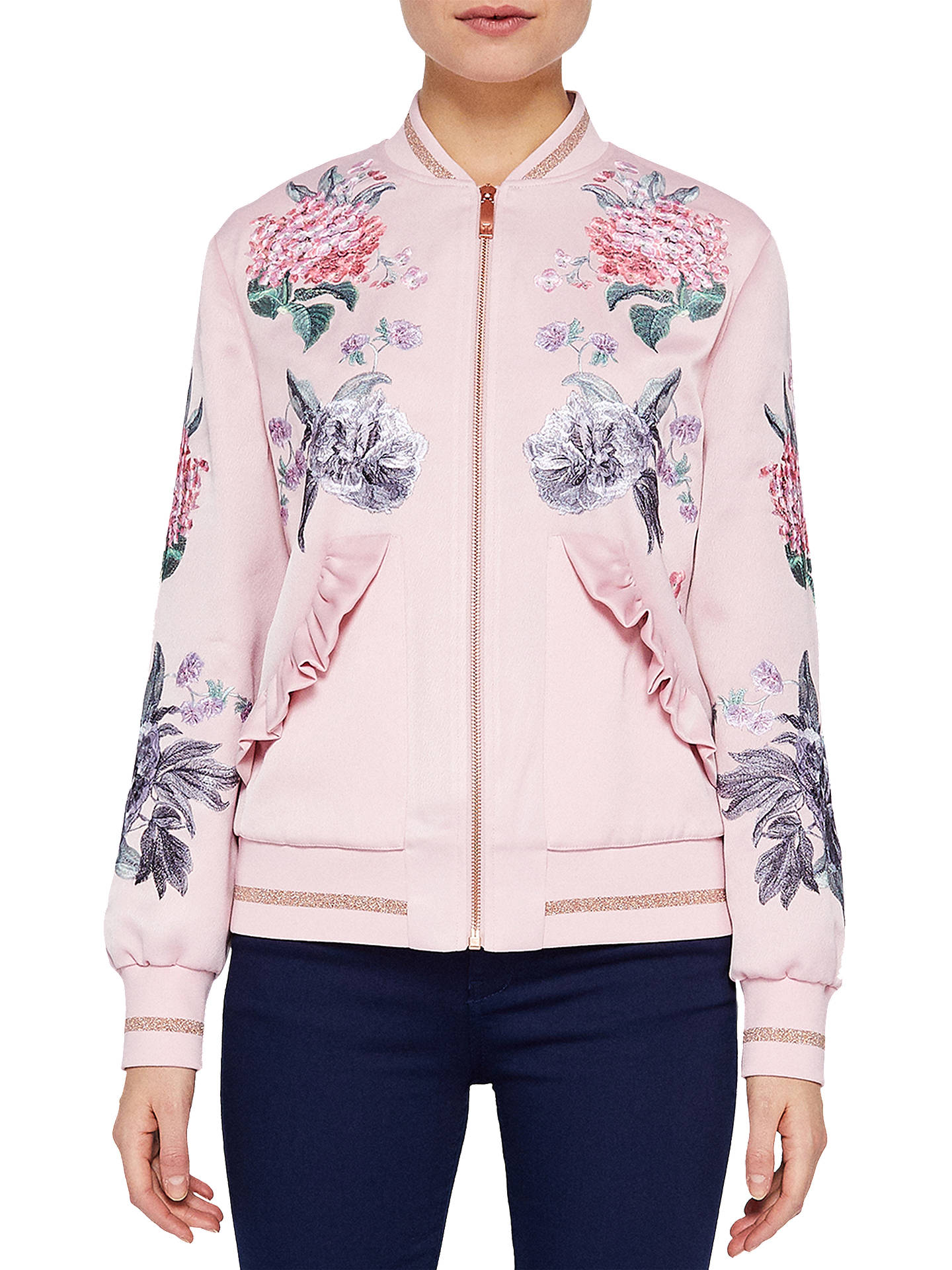 68d54b258 Ted Baker Allisza Palace Gardens Ruffle Trim Bomber Jacket, Dusty ...